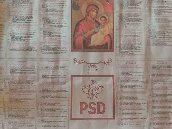 Mii de calendare cu sigla PSD alaturi de Fecioara Maria au fost impartite in Arges!